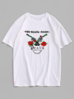 ZAFUL Rose Flowers Pistol Print Graphic T-shirt - White L