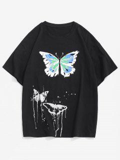 T-Shirt Stampata A Farfalla Con Maniche Corte - Nero S