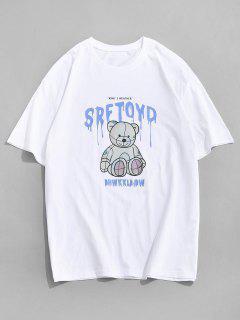 Drip Letter Bear Pattern Short Sleeve T-shirt - White L