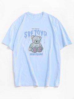 Drip Letter Bear Pattern Short Sleeve T-shirt - Sky Blue L