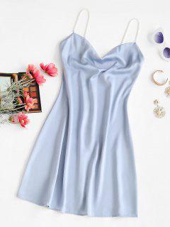Faux Pearl Straps Cowl Neck Mini Dress - Light Blue L
