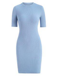 Rib-knit Slinky Bodycon Tee Dress - Light Blue M