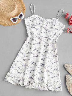 Tiny Floral Bustier Ruffled Hem Cami Dress - White M