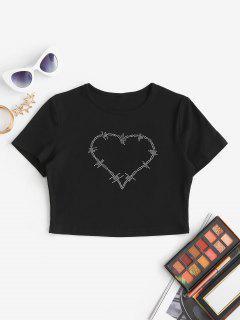 T-shirt Court Cœur En Strass - Noir L