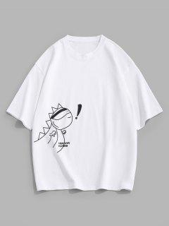 T-Shirt Sciolta Stampata Animali Con Maniche Corte - Bianca M