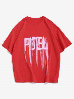 T-Shirt Sciolta Stampata Lettere Con Maniche Corte - Rosso 3xl