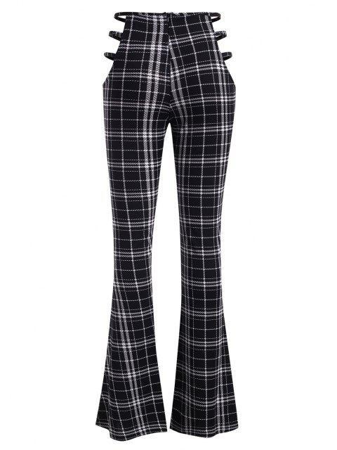 Pantaloni a Quadretti a Vita Alta con Taglio a Scaletta - Multi Colori S Mobile