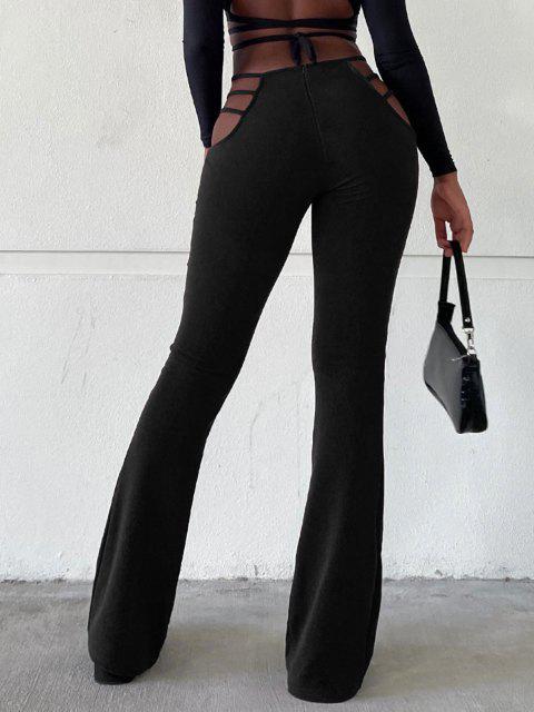 PantalonBootcutDécoupé Texturé à Taille Haute - Noir S Mobile