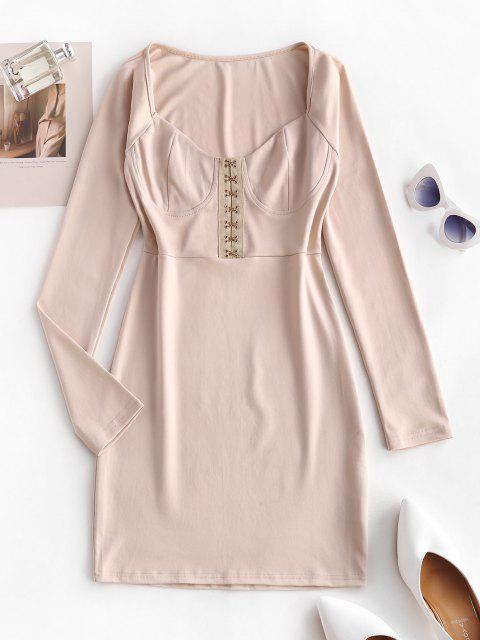 fashion Hook Placket Sweetheart Bodycon Mini Dress - LIGHT COFFEE S Mobile