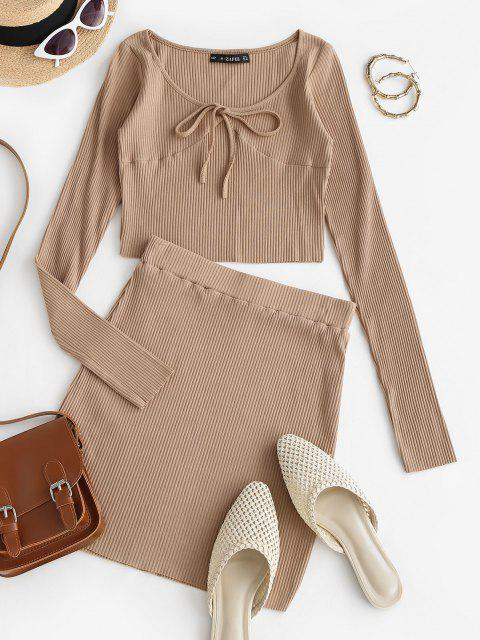 women Ribbed Tie Long Sleeve Two Piece Skirt Set - LIGHT COFFEE M Mobile