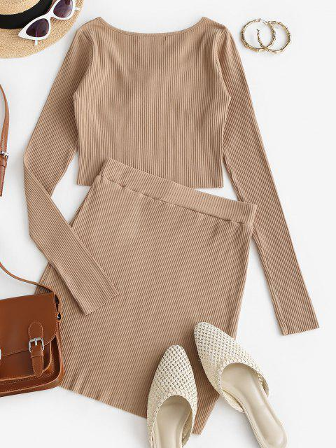 latest Ribbed Tie Long Sleeve Two Piece Skirt Set - LIGHT COFFEE L Mobile