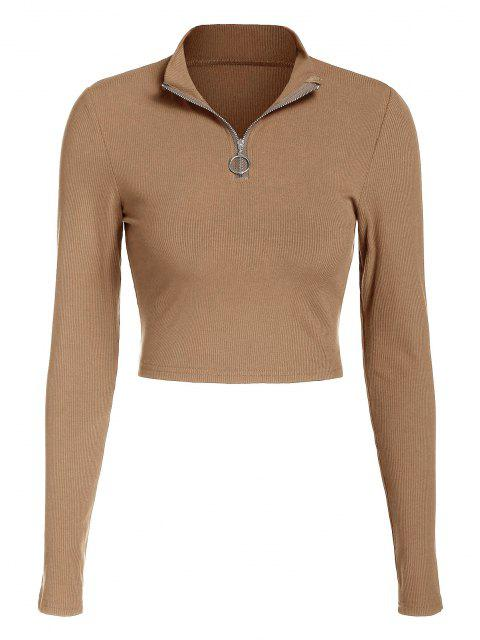 chic ZAFUL Half Zip Crop Tee - LIGHT COFFEE L Mobile