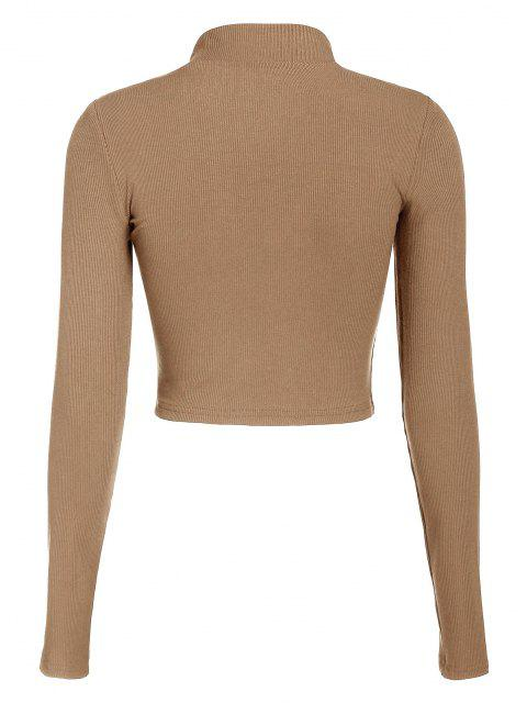 sale ZAFUL Half Zip Crop Tee - LIGHT COFFEE XL Mobile