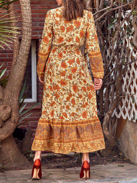 outfit Button Loop Bohemian Printed Tassels Maxi Dress - DEEP YELLOW S Mobile