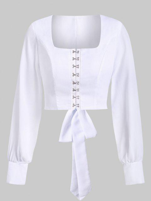 affordable Hook and Eye Chiffon Knot Open Back Crop Top - WHITE S Mobile
