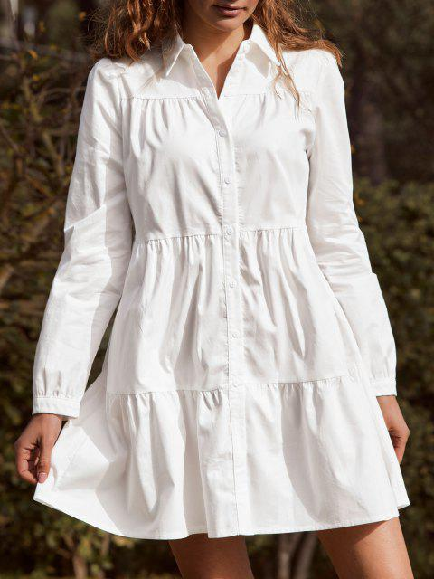 unique ZAFUL Long Sleeve Casual Shirt Dress - WHITE XL Mobile