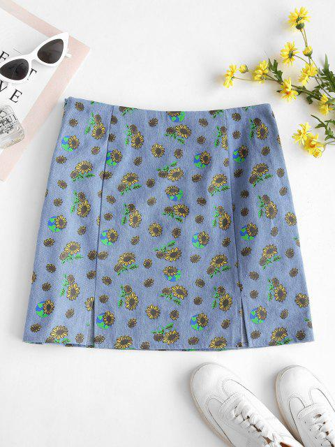 buy ZAFUL M-slit Sunflower Print Denim Skirt - LIGHT BLUE S Mobile