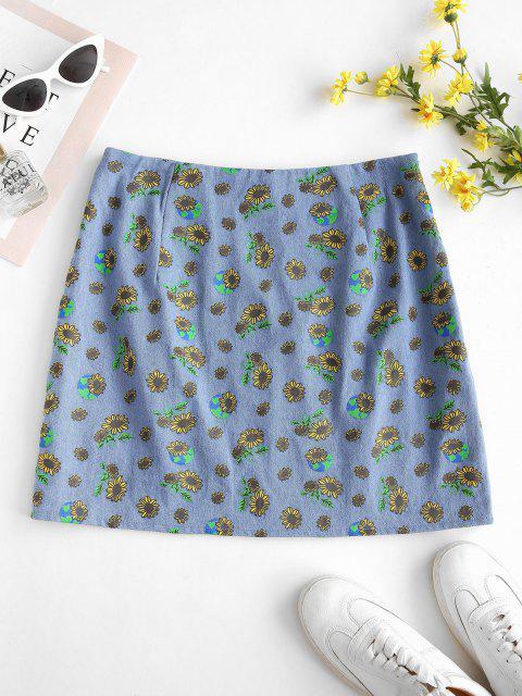 affordable ZAFUL M-slit Sunflower Print Denim Skirt - LIGHT BLUE M Mobile