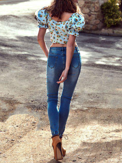Jeans Flacos Deshilachados de Motorista - Azul L Mobile