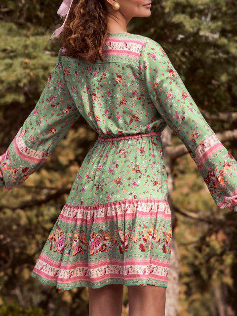 Vestido Floral Bohemio Manga Campana Botones - Verde claro S Mobile