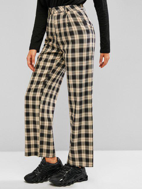 new Plaid Slant Pocket Straight Loose Pants - LIGHT YELLOW L Mobile