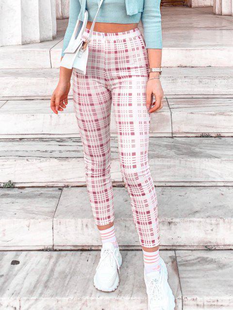 shops ZAFUL Tartan Print High Waisted Skinny Leggings - LIGHT PINK S Mobile