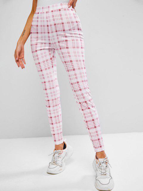 best ZAFUL Tartan Print High Waisted Skinny Leggings - LIGHT PINK XL Mobile