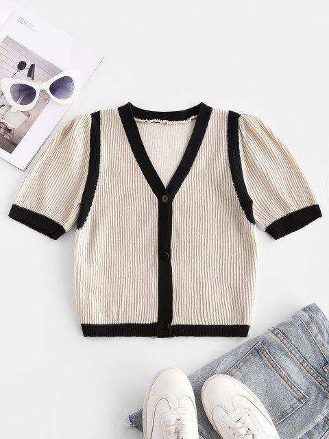 shops Colorblock Ribbed Short Sleeve Crop Cardigan - LIGHT COFFEE ONE SIZE Mobile