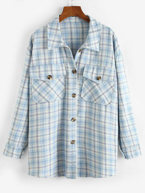 Button Down Plaid Flap Pockets Shacket - متعددة-A S Mobile