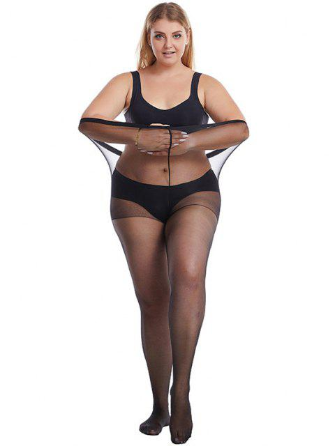 High Elastic Plus Size Sexy Mesh Tights - Preto  Mobile
