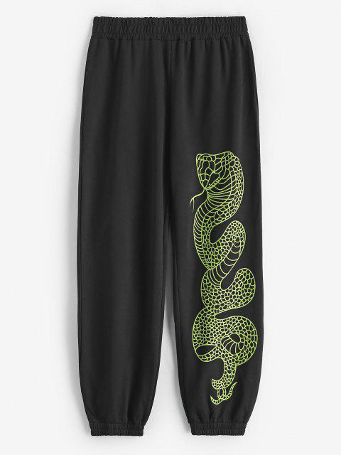 women Mid Rise Snake Print Jogger Sweatpants - BLACK S Mobile