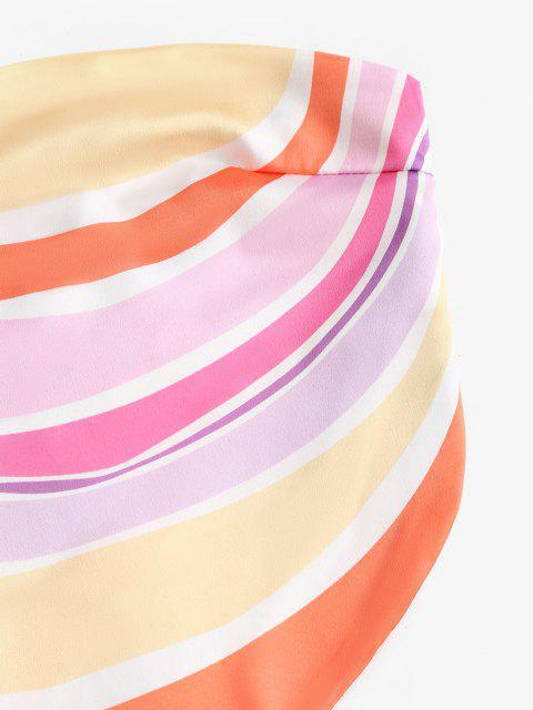 Top di Raso a Righe Colorate Senza Spalline - Multi Colori M Mobile