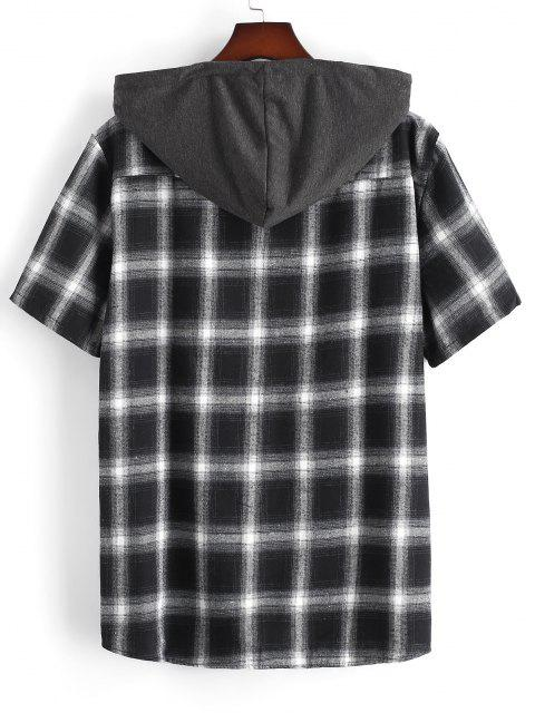 best Plaid Print Short Sleeve Casual Hooded Shirt - BLACK XL Mobile