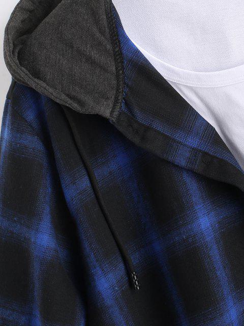 Chemise à Capuche Décontractée à Carreaux Imprimée à Manches Courtes - Bleu XXL Mobile