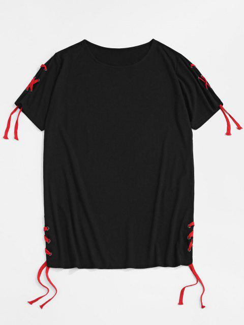 hot Solid Lace Up Round Hem Casual T-Shirt - BLACK XXL Mobile