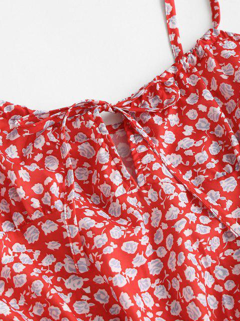 trendy Ditsy Floral Tied Cami Summer Dress - RED S Mobile