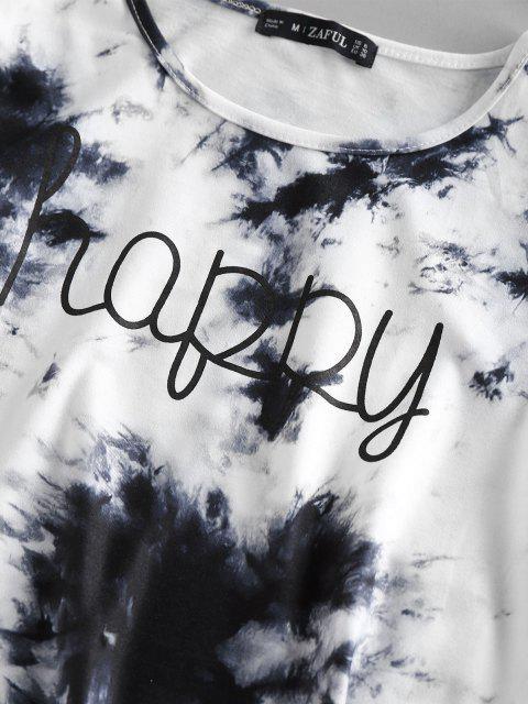 buy ZAFUL Tie Dye Letters Printed Crop Tee - WHITE M Mobile
