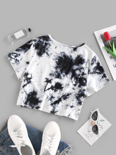 outfits ZAFUL Tie Dye Letters Printed Crop Tee - WHITE S Mobile