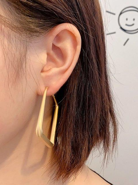 outfits Matte Golden Large Square Hoop Earrings - GOLDEN  Mobile