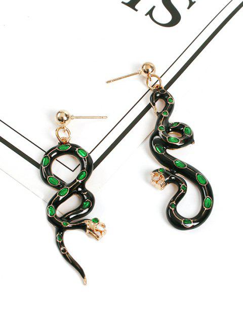 shop Snake Shape Asymmetric Exaggerated Drop Earrings - BLACK  Mobile