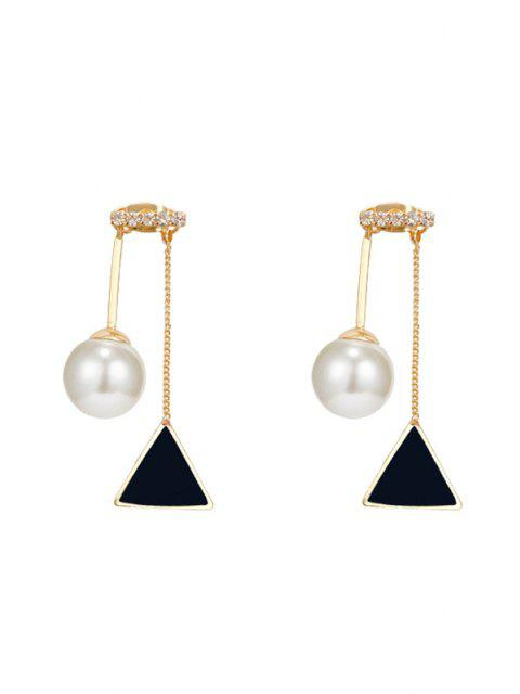 latest Faux Pearl Triangle Stud Drop Earrings - GOLDEN  Mobile