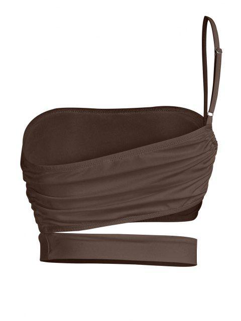 ZAFUL One Shoulder Cutout Crop Top - القهوة العميقة S Mobile