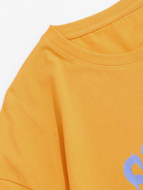 fashion Drip Letter Bear Pattern Short Sleeve T-shirt - YELLOW XL Mobile