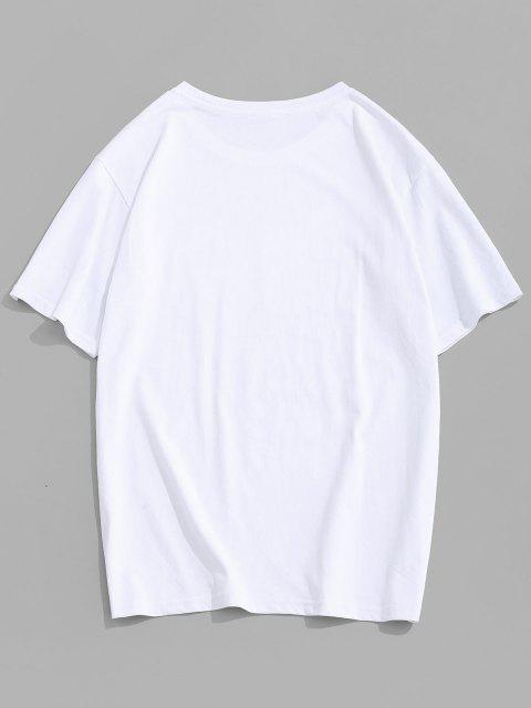 T-Shirt Stampata a Farfalla con Maniche Corte - Bianca M Mobile