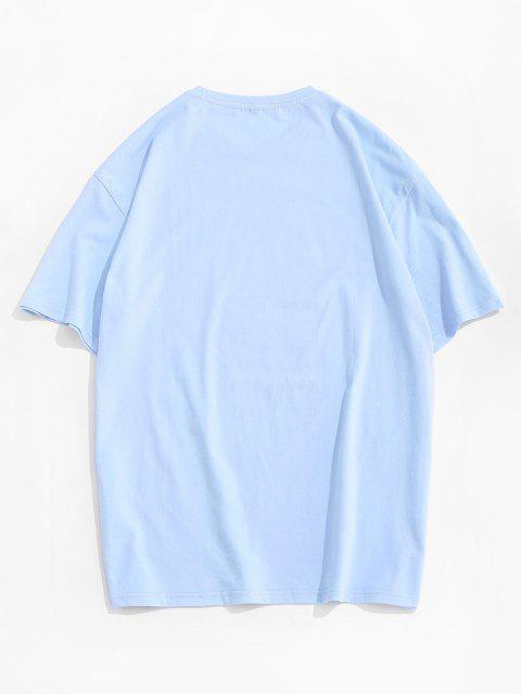 chic Drip Letter Bear Pattern Short Sleeve T-shirt - SKY BLUE XL Mobile