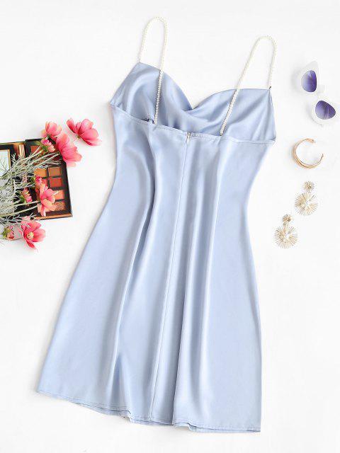 unique Faux Pearl Straps Cowl Neck Mini Dress - LIGHT BLUE M Mobile