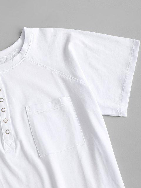 sale Front Pocket Snap Button Basic Tee - WHITE L Mobile