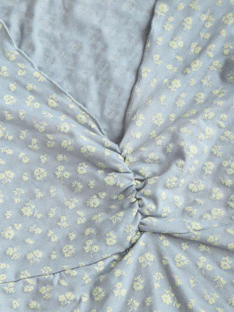 T-shirt Fleuri Imprimé à Ourlet en Laitue à Volants pour Bébé - Bleu clair S Mobile