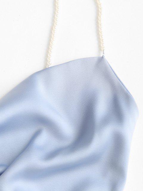 hot Faux Pearl Straps Cowl Neck Mini Dress - LIGHT BLUE S Mobile