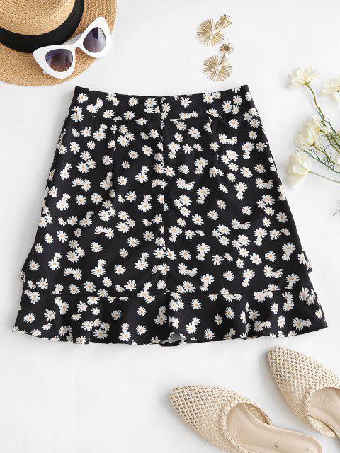 latest Daisy Print Ruffles Mini Skirt - BLACK L Mobile